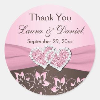 Pink, Brown Floral, Hearts Wedding Favor Sticker