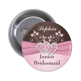 Pink, Brown Floral Junior Bridesmaid Pin