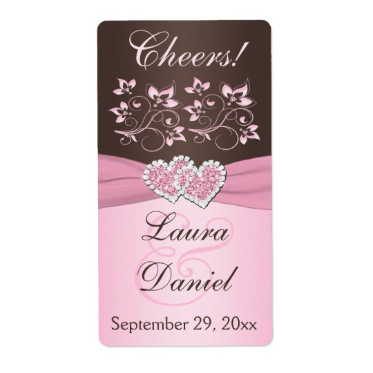 Pink, Brown Floral Wine Bottle Label Shipping Label