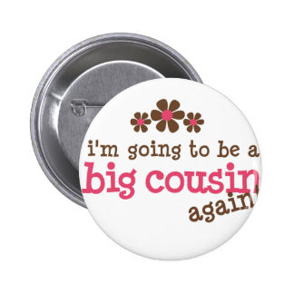 Pink/Brown Flower Big Cousin T-shirt 6 Cm Round Badge
