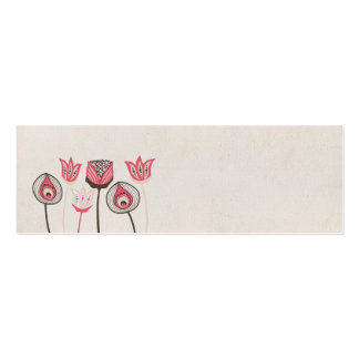 Pink & Brown Funky Flowers Wedding Tags Cards Pack Of Skinny Business Cards