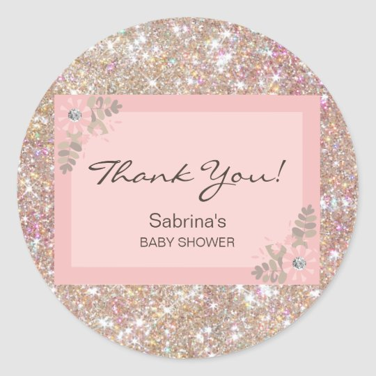 Pink, Brown, Glitter Baby Shower - Girls Classic