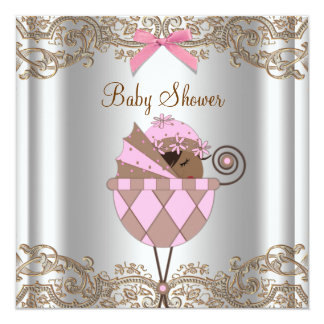 Pink Brown Lace African American Baby Girl Shower 13 Cm X 13 Cm Square Invitation Card