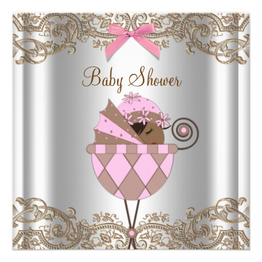 Pink Brown Lace African American Baby Girl Shower Announcements