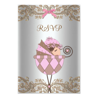 "Pink Brown Lace Girl Baby Shower RSVP 3.5"" X 5"" Invitation Card"