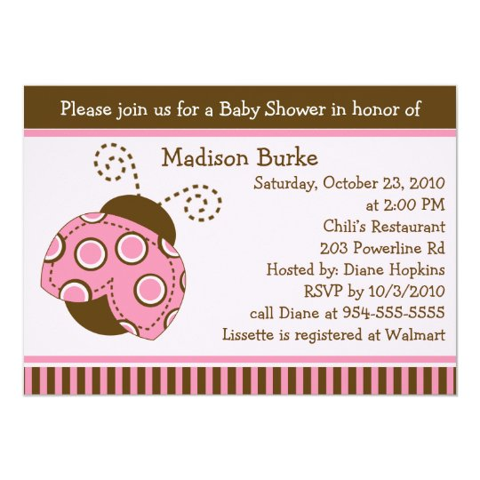Pink & Brown Mod Ladybug Baby Shower Invitation