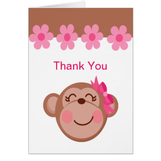 Pink Brown Monkey Face Girl Thank You Cards