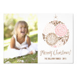Pink & Brown Ornament Holiday Photo Card 13 Cm X 18 Cm Invitation Card