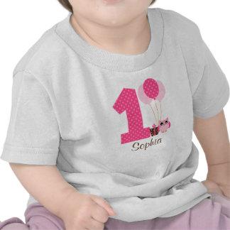 Pink Brown Owl Polka Dot 1st Birthday Girl Tshirts