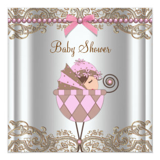 Pink Brown Pearls Lace Girl Baby Shower 13 Cm X 13 Cm Square Invitation Card