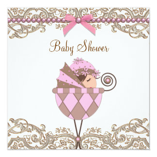 "Pink Brown Pearls Lace Girl Baby Shower 5.25"" Square Invitation Card"
