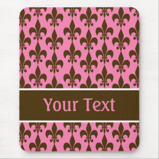 Pink Brown Personalized Fleur de Lis Mousepad
