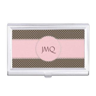 Pink & Brown Polka Dot Business Card Holder