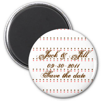 "Pink & brown polka dot ""Save the date"" magnets"