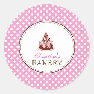 Pink & Brown Polka Dots Cake Bakery Sticker LABEL