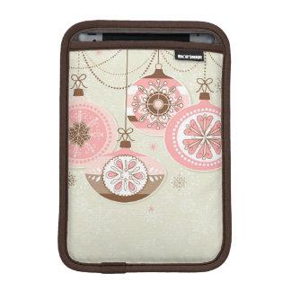Pink & Brown Retro Christmas Ornaments iPad Mini Sleeve