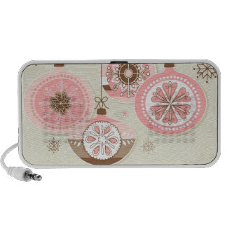 Pink & Brown Retro Christmas Ornaments Travelling Speakers