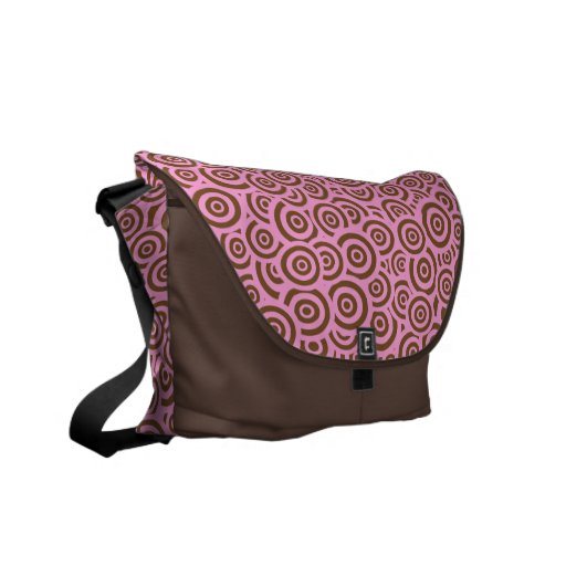 Pink & Brown Retro Circles Courier Bags