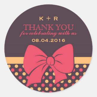 Pink Brown Ribbons and Bows Polka Dots Stickers