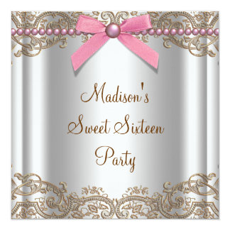 Pink Brown Sweet 16 Birthday Party Card