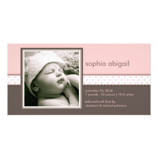 PInk | Brown Sweet Baby Girl Birth Announcement Customised Photo Card