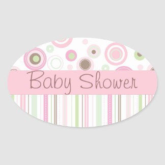 Pink Brown Sweet Girl Polka Dot Baby Shower Oval Sticker