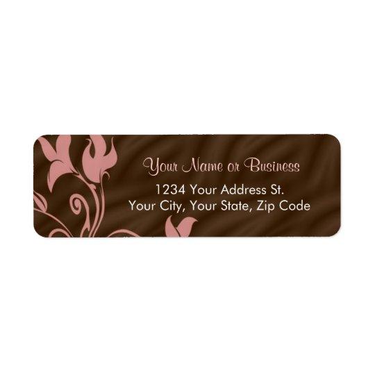 Pink Brown Swirl Return Address Label