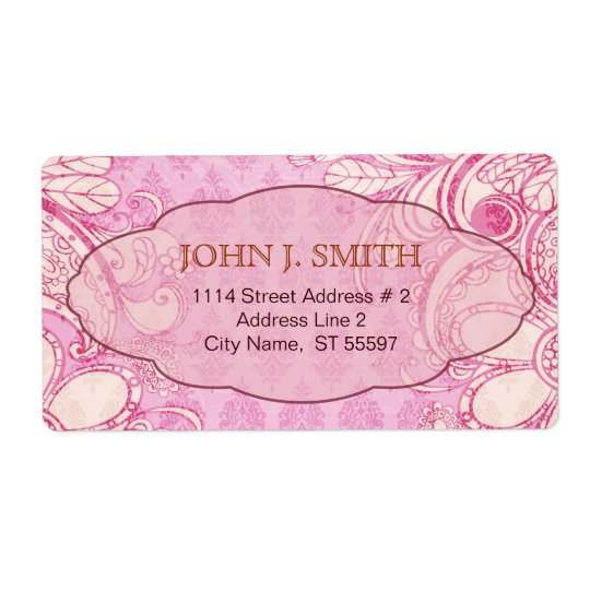 Pink & Brown Swirls - Custom Text Shipping Label