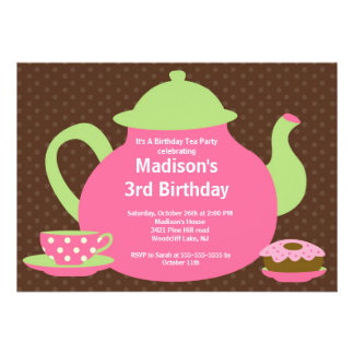 Pink Brown Tea Party Birthday Party Invitation