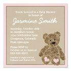 Pink brown teddy bear baby shower invitations