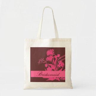 Pink brown theme bridesmaid floral custom bag