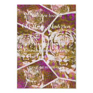 Pink Brown Tiger Collage 9 Cm X 13 Cm Invitation Card