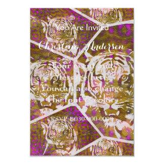 Pink Brown Tiger Collage 9 Cm X 13 Cm Invitation Card