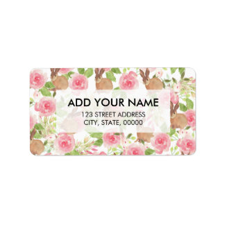 Pink brown watercolor roses floral cute bunny address label