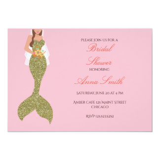 Pink brunette mermaid invitation bridal shower