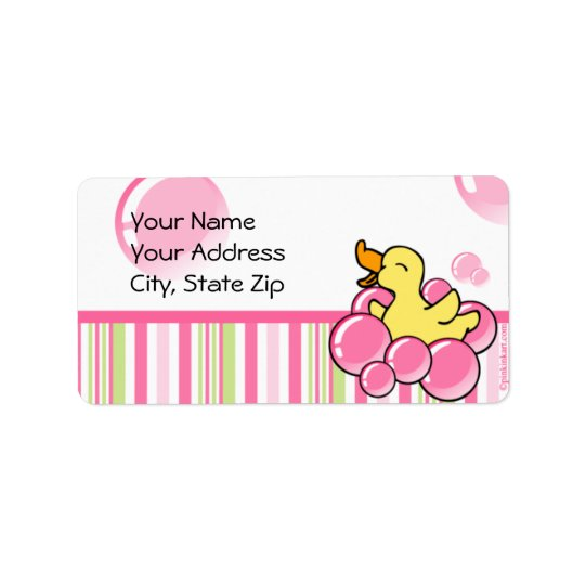 Pink Bubble Ducky Address Label