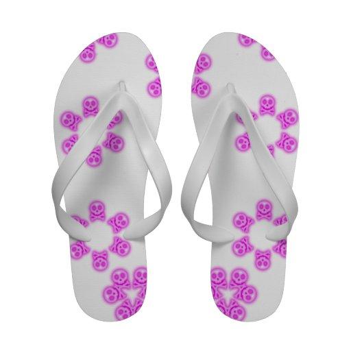 Pink Bubble Gum Skull and Crossbones flip flops