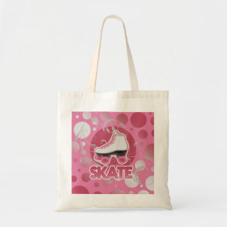 Pink Bubble Swirl Roller Skate, Skating Budget Tote Bag