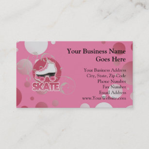 Roller skating business cards business card printing zazzle uk pink bubble swirl roller skate skating business card reheart Choice Image