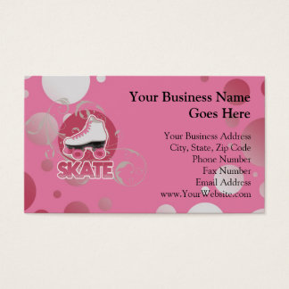 Pink Bubble Swirl Roller Skate, Skating Business Card