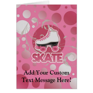 Pink Bubble Swirl Roller Skate Skating Cards