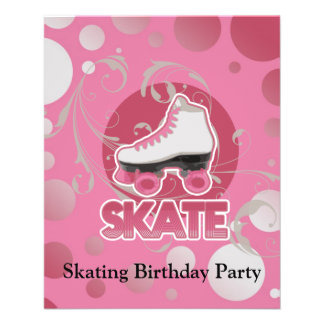 Pink Bubble Swirl Roller Skate, Skating Flyer