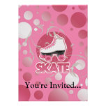 Pink Bubble Swirl Roller Skate, Skating Personalised Announcement