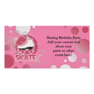 Pink Bubble Swirl Roller Skate Skating Picture Card
