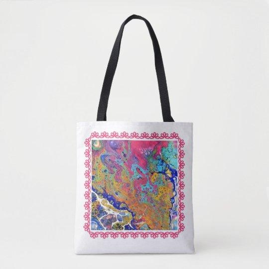 Pink Bubbles  Acrylic Pour  Tote