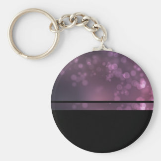 Pink bubbles basic round button key ring