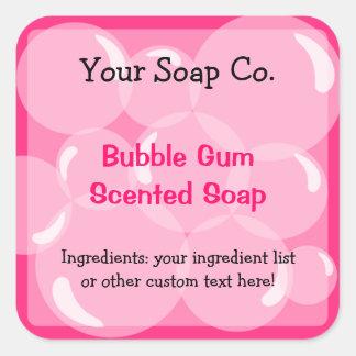 Pink Bubbles Bubble Gum Soap Label Square Sticker