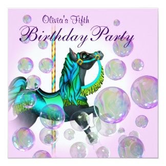 """Pink Bubbles Carousel Pony Girls Birthday Party 5.25"""" Square Invitation Card"""