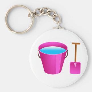 Pink Bucket & Spade Basic Round Button Key Ring