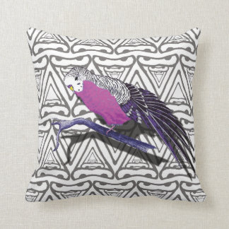 Pink Budgie Bird Cushion Triangle Pattern